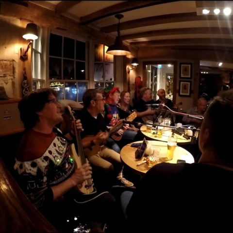 Alresford Ukulele Jam play acoustic in the Horse and Groom, Alresford