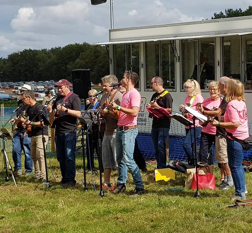 Alresford Ukulele Jam playing in Ring 1 at the Alresford Show